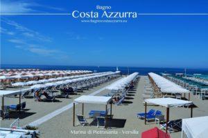 vista della spiaggia del bagno Costa Azzurra in Versilia